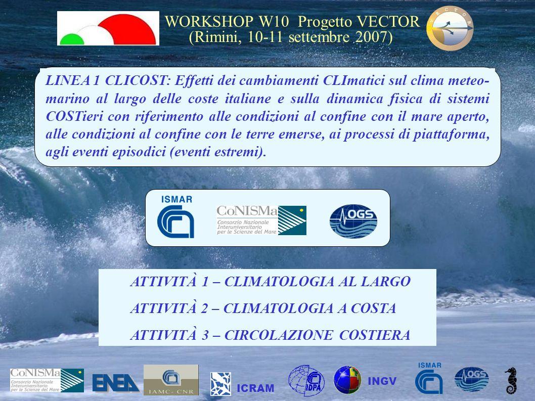 WORKSHOP W10 Progetto VECTOR (Rimini, 10-11 settembre 2007) ICRAM INGV LINEA 1 CLICOST: Effetti dei cambiamenti CLImatici sul clima meteo- marino al l