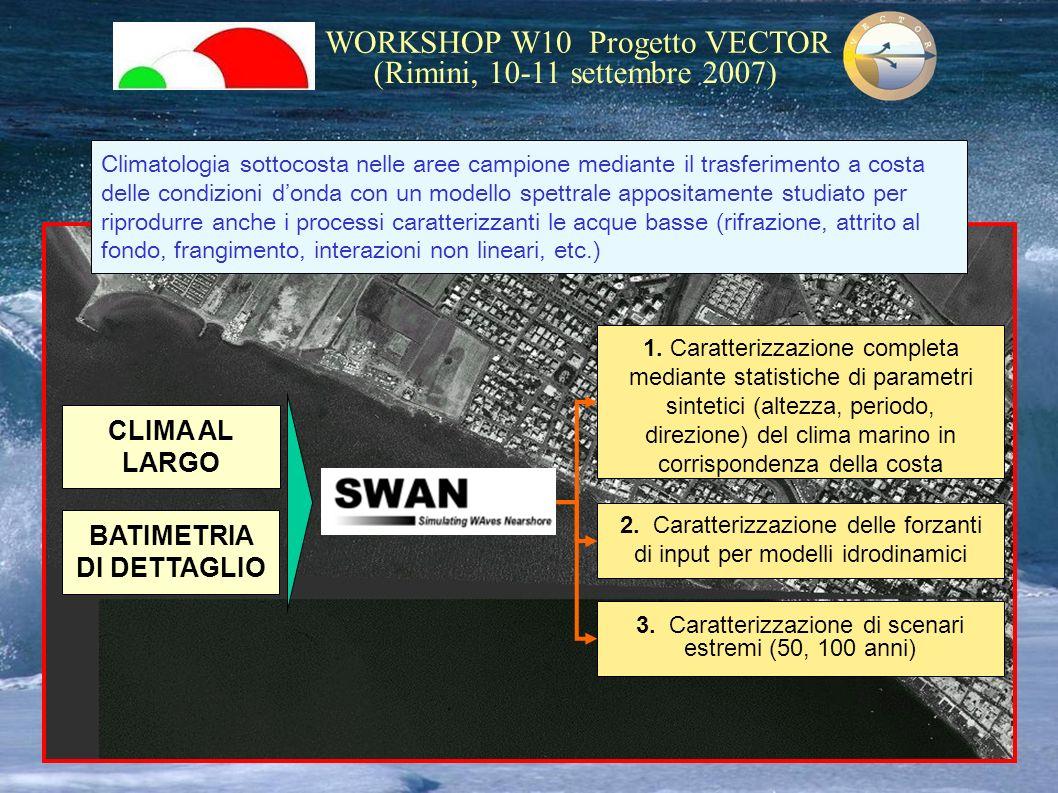 WORKSHOP W10 Progetto VECTOR (Rimini, 10-11 settembre 2007) Climatologia sottocosta nelle aree campione mediante il trasferimento a costa delle condiz