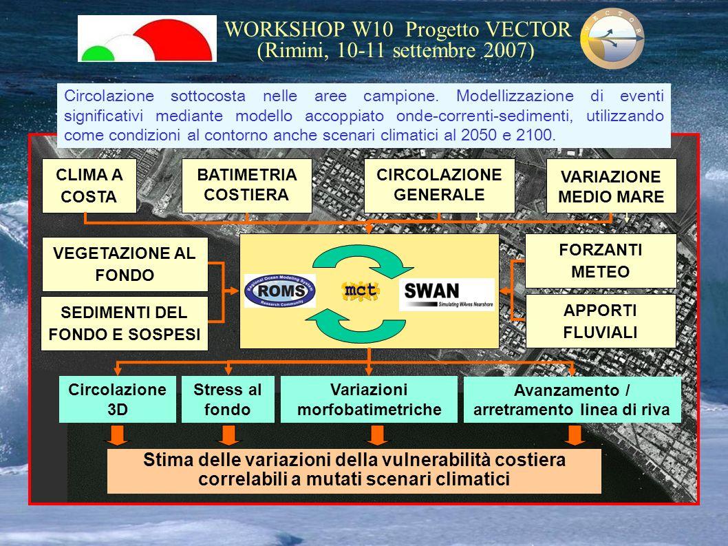 WORKSHOP W10 Progetto VECTOR (Rimini, 10-11 settembre 2007) CLIMA A COSTA BATIMETRIA COSTIERA CIRCOLAZIONE GENERALE FORZANTI METEO VARIAZIONE MEDIO MA