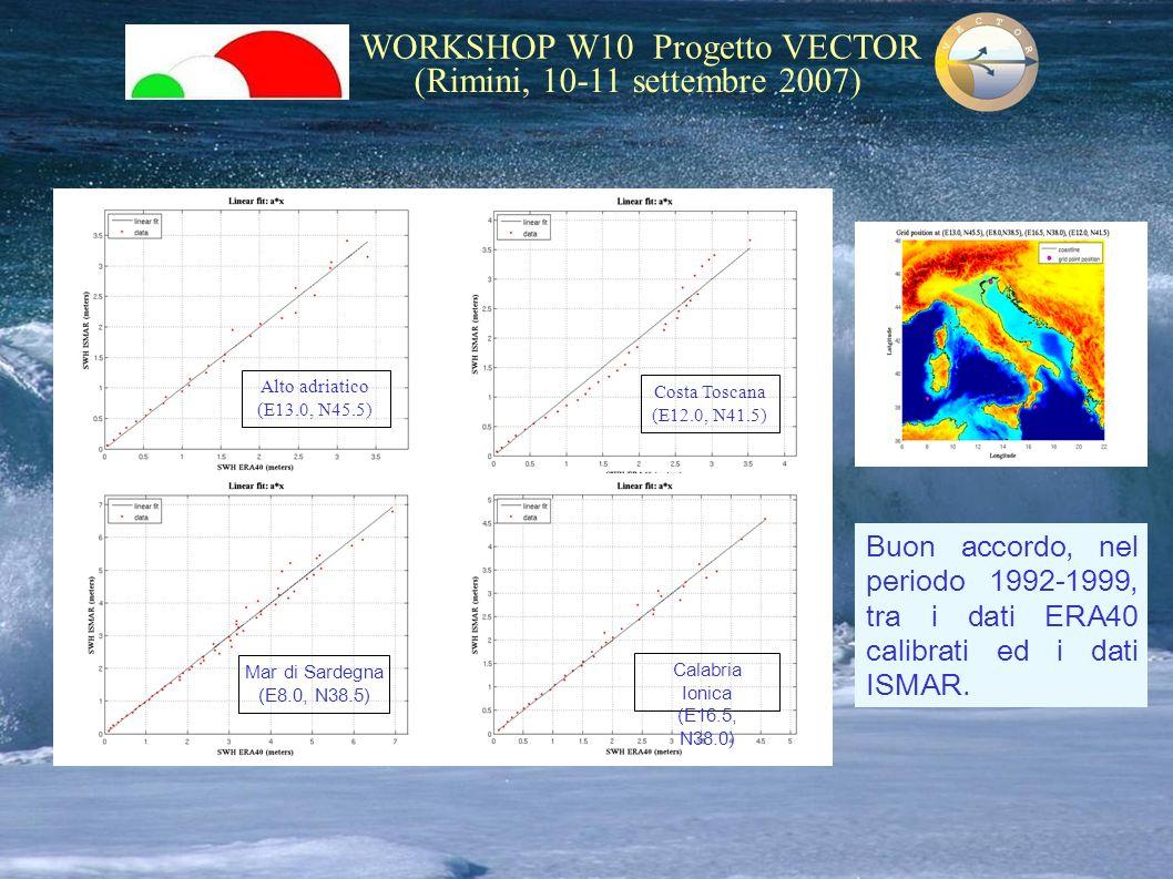 WORKSHOP W10 Progetto VECTOR (Rimini, 10-11 settembre 2007) Alto adriatico (E13.0, N45.5) Mar di Sardegna (E8.0, N38.5) Costa Toscana (E12.0, N41.5) C
