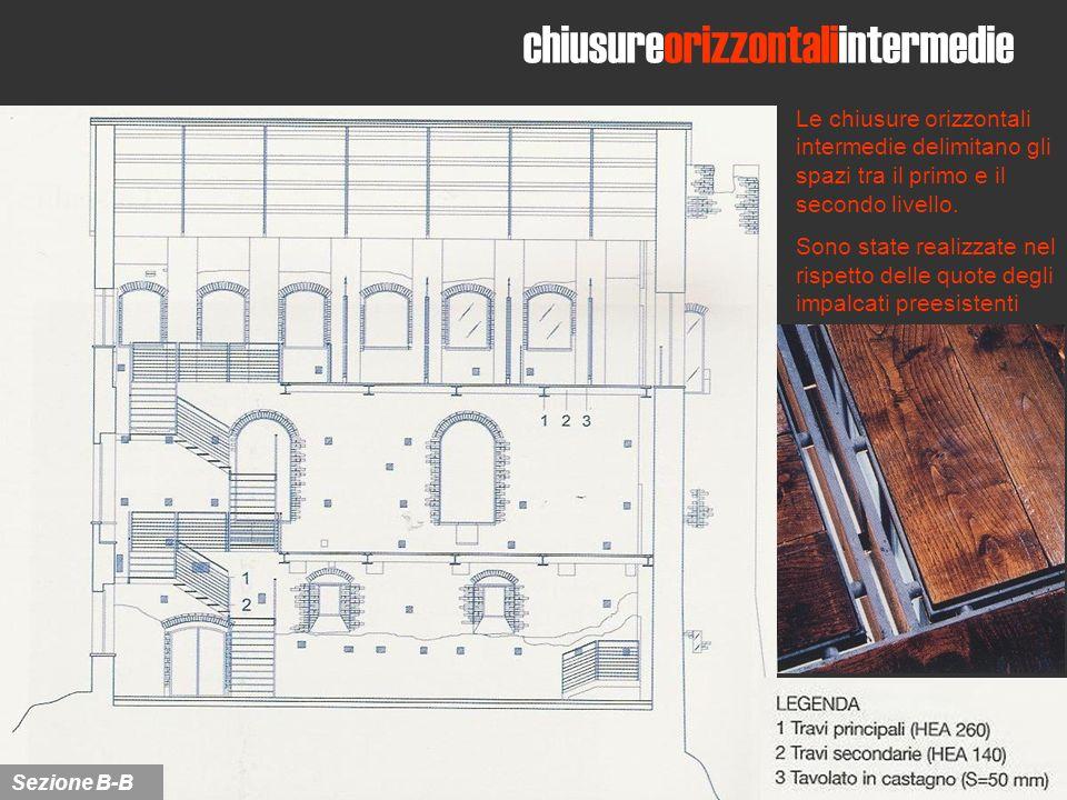 Le chiusure orizzontali intermedie delimitano gli spazi tra il primo e il secondo livello. Sono state realizzate nel rispetto delle quote degli impalc