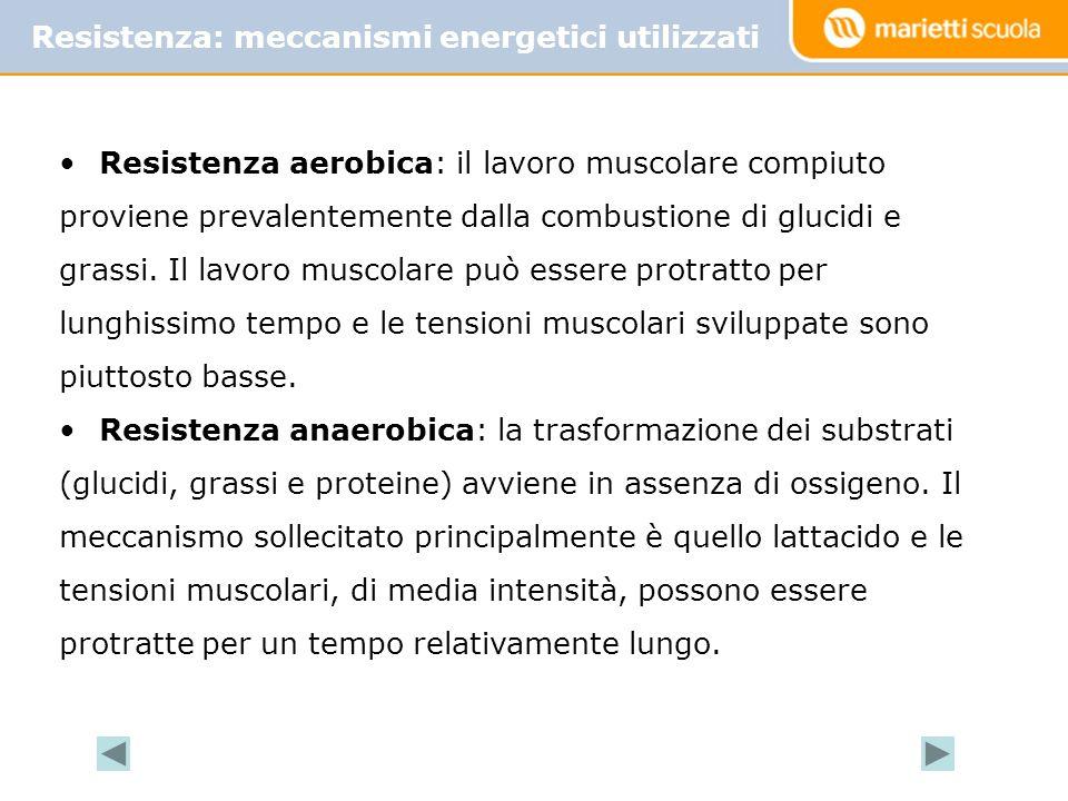 Resistenza aerobica: il lavoro muscolare compiuto proviene prevalentemente dalla combustione di glucidi e grassi.