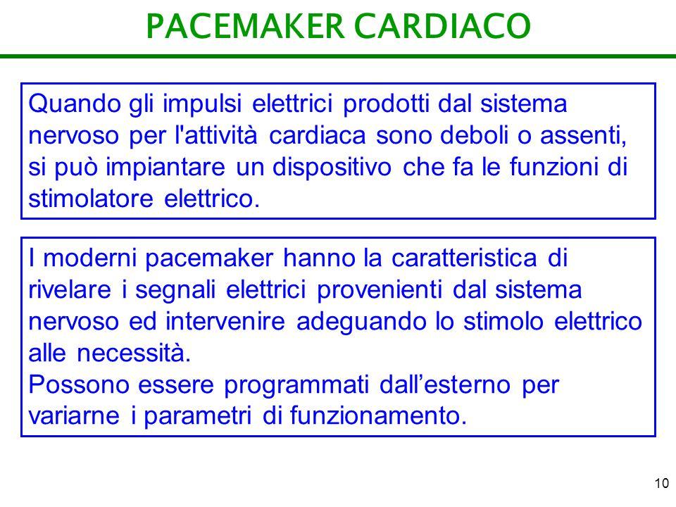 10 PACEMAKER CARDIACO Quando gli impulsi elettrici prodotti dal sistema nervoso per l'attività cardiaca sono deboli o assenti, si può impiantare un di
