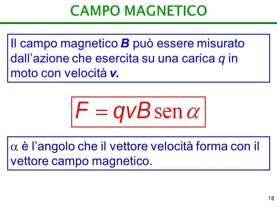 18 CAMPO MAGNETICO Il campo magnetico B può essere misurato dallazione che esercita su una carica q in moto con velocità v. è langolo che il vettore v