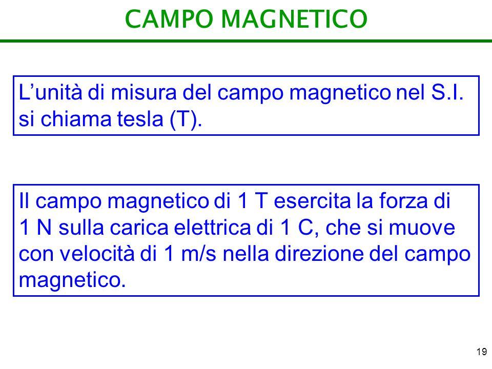 19 CAMPO MAGNETICO Lunità di misura del campo magnetico nel S.I. si chiama tesla (T). Il campo magnetico di 1 T esercita la forza di 1 N sulla carica