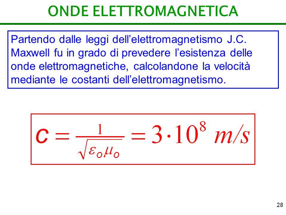 28 ONDE ELETTROMAGNETICA Partendo dalle leggi dellelettromagnetismo J.C. Maxwell fu in grado di prevedere lesistenza delle onde elettromagnetiche, cal