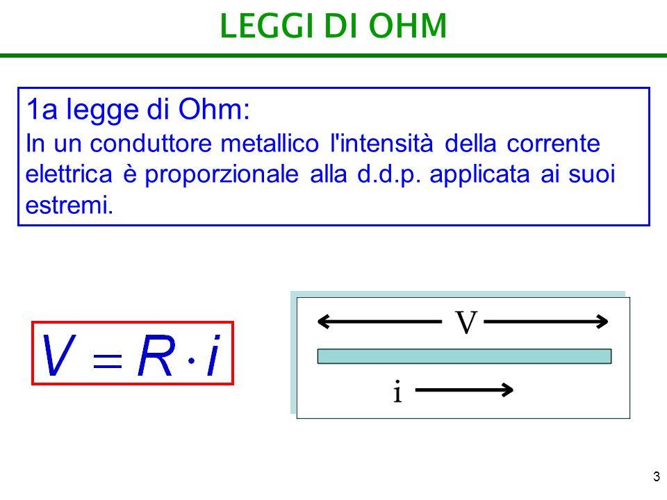 4 LEGGI DI OHM 2a legge di Ohm: La resistenza di un conduttore metallico, di lunghezza d ed area della sezione A, è data dalla formula si chiama resistività, dipende dalla natura del materiale e dalla sua temperatura.