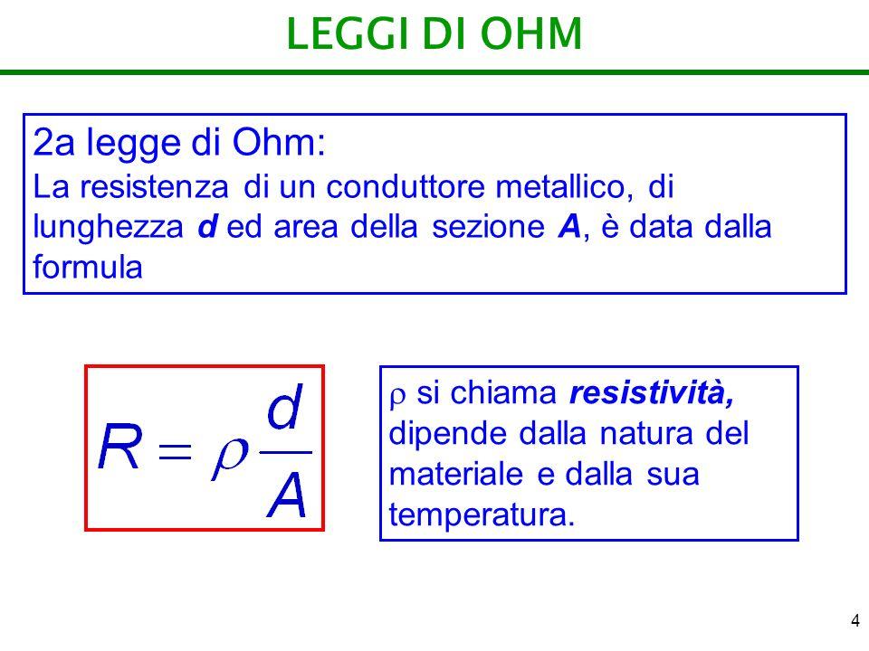 4 LEGGI DI OHM 2a legge di Ohm: La resistenza di un conduttore metallico, di lunghezza d ed area della sezione A, è data dalla formula si chiama resis