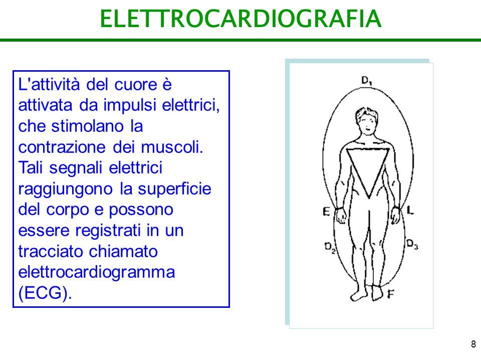 8 ELETTROCARDIOGRAFIA L'attività del cuore è attivata da impulsi elettrici, che stimolano la contrazione dei muscoli. Tali segnali elettrici raggiungo