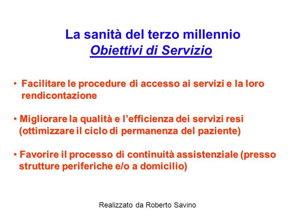 Realizzato da Roberto Savino La sanità del terzo millennio Obiettivi istituzionali Migliorare la qualità dei servizi Governare e ottimizzare la spesa