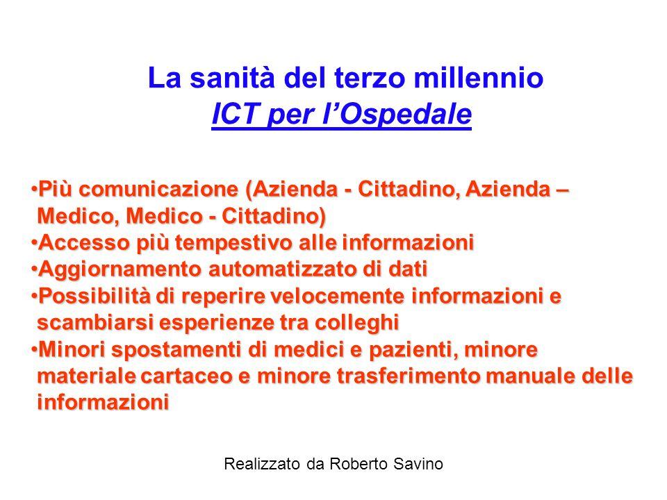 Realizzato da Roberto Savino La sanità del terzo millennio Obiettivi di Servizio Facilitare le procedure di accesso ai servizi e la loro rendicontazio