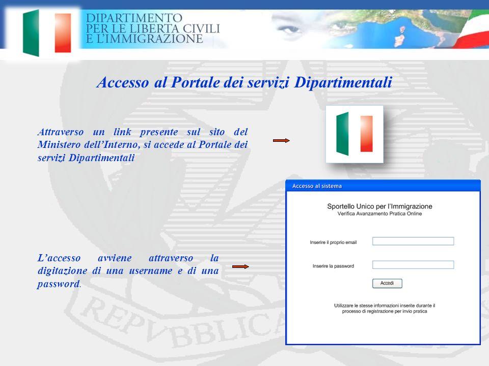Accesso al Portale dei servizi Dipartimentali Laccesso avviene attraverso la digitazione di una username e di una password.