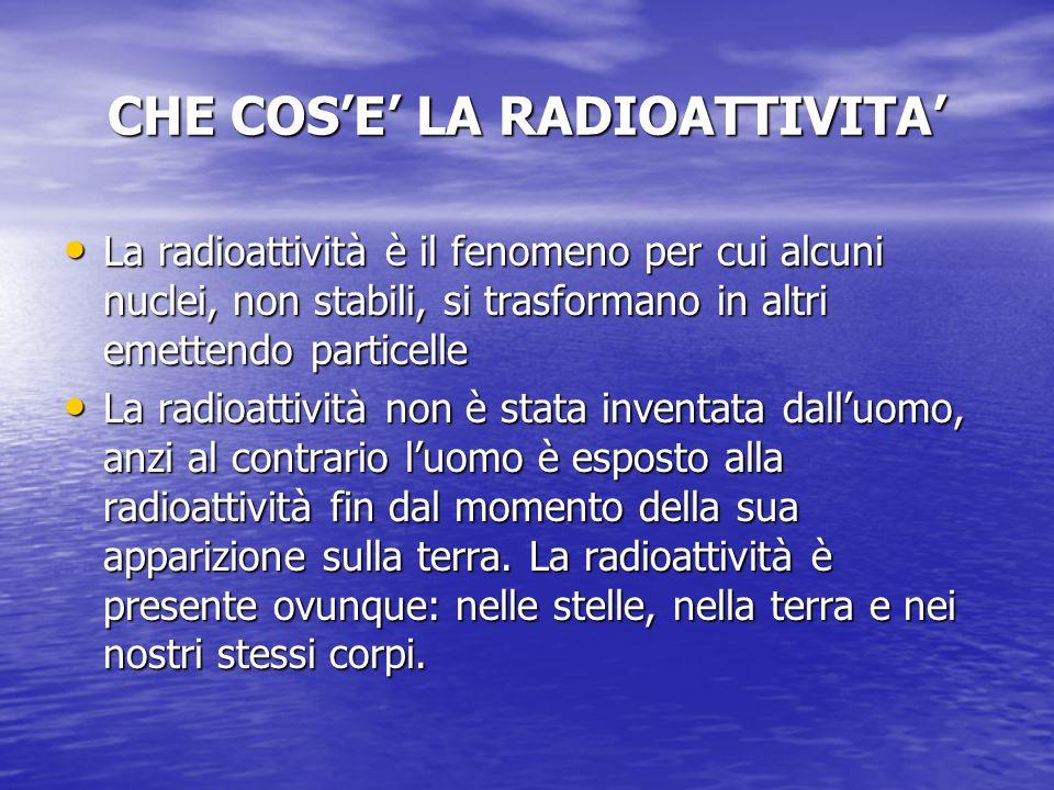CHE COSE LA RADIOATTIVITA La radioattività è il fenomeno per cui alcuni nuclei, non stabili, si trasformano in altri emettendo particelle La radioattività è il fenomeno per cui alcuni nuclei, non stabili, si trasformano in altri emettendo particelle La radioattività non è stata inventata dalluomo, anzi al contrario luomo è esposto alla radioattività fin dal momento della sua apparizione sulla terra.