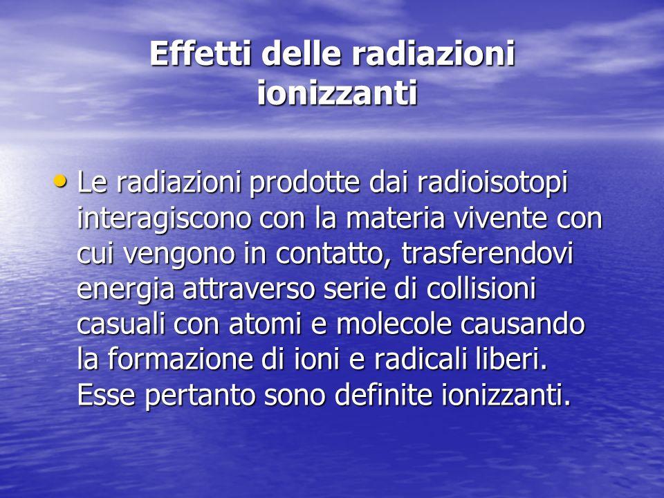Effetti delle radiazioni ionizzanti Le radiazioni prodotte dai radioisotopi interagiscono con la materia vivente con cui vengono in contatto, trasferendovi energia attraverso serie di collisioni casuali con atomi e molecole causando la formazione di ioni e radicali liberi.