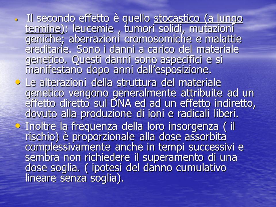 Il secondo effetto è quello stocastico (a lungo termine): leucemie, tumori solidi, mutazioni geniche; aberrazioni cromosomiche e malattie ereditarie.