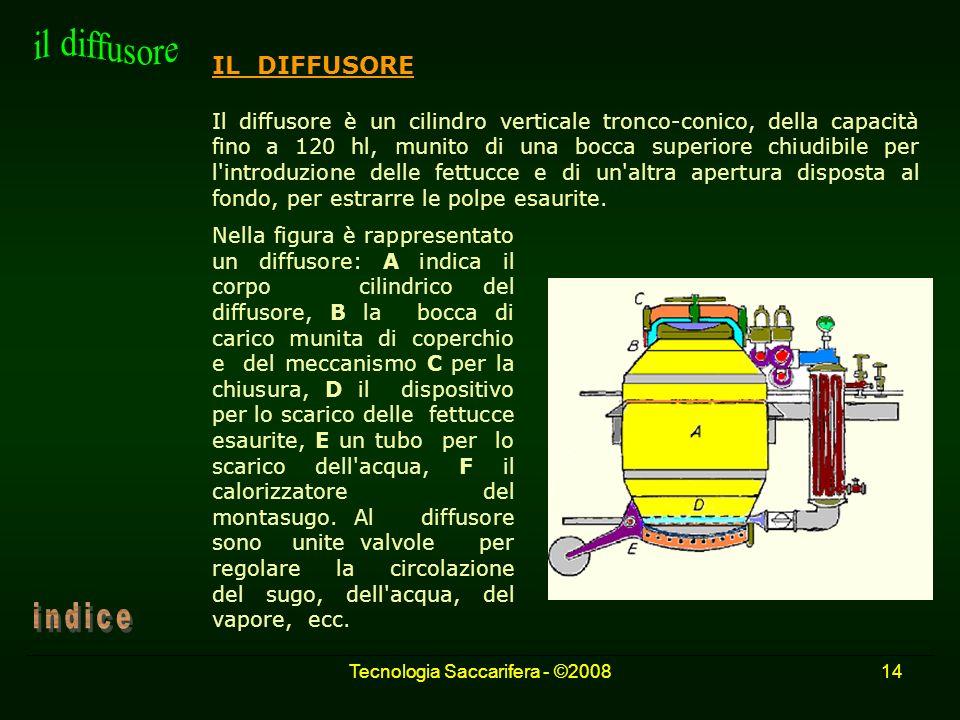 Tecnologia Saccarifera - ©200814 IL DIFFUSORE Il diffusore è un cilindro verticale tronco-conico, della capacità fino a 120 hl, munito di una bocca su