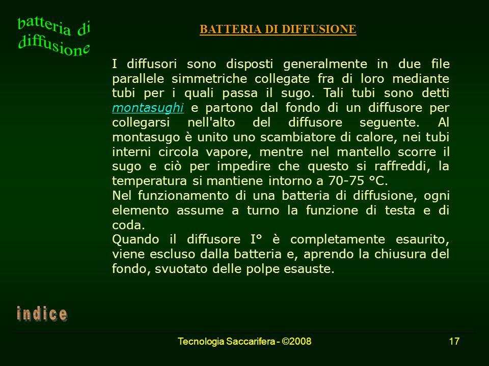 Tecnologia Saccarifera - ©200817 BATTERIA DI DIFFUSIONE I diffusori sono disposti generalmente in due file parallele simmetriche collegate fra di loro
