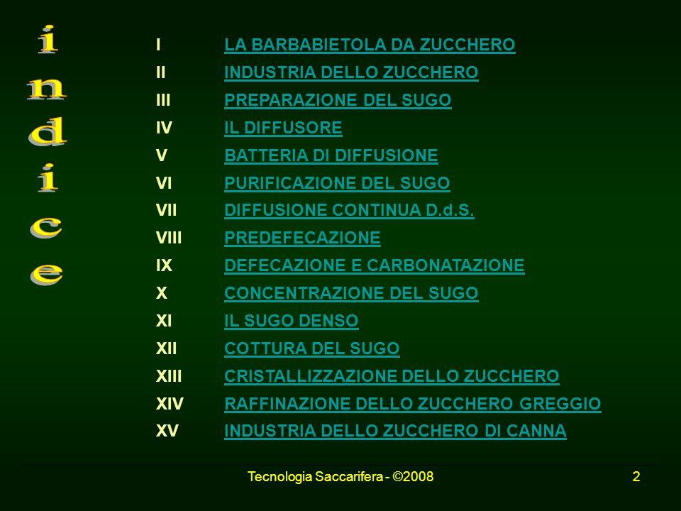 Tecnologia Saccarifera - ©20082 I LA BARBABIETOLA DA ZUCCHEROLA BARBABIETOLA DA ZUCCHERO II INDUSTRIA DELLO ZUCCHEROINDUSTRIA DELLO ZUCCHERO III PREPA