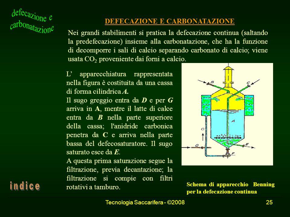Tecnologia Saccarifera - ©200825 DEFECAZIONE E CARBONATAZIONE Nei grandi stabilimenti si pratica la defecazione continua (saltando la predefecazione)