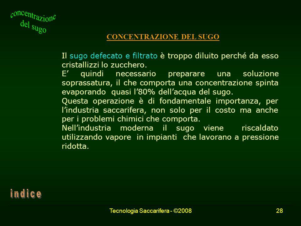Tecnologia Saccarifera - ©200828 CONCENTRAZIONE DEL SUGO Il sugo defecato e filtrato è troppo diluito perché da esso cristallizzi lo zucchero. E quind