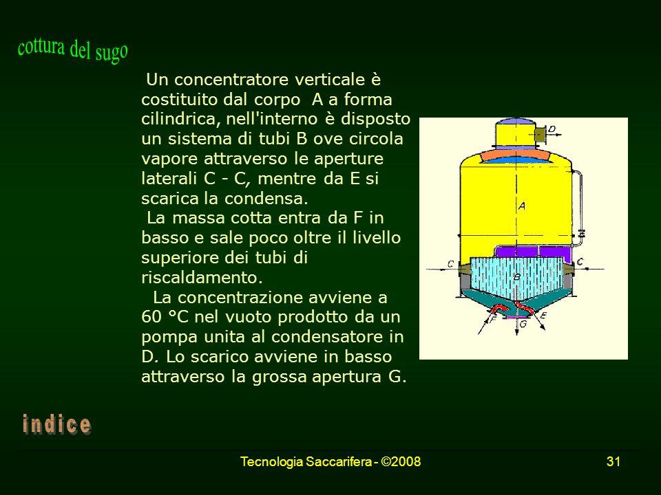 Tecnologia Saccarifera - ©200831 Un concentratore verticale è costituito dal corpo A a forma cilindrica, nell'interno è disposto un sistema di tubi B