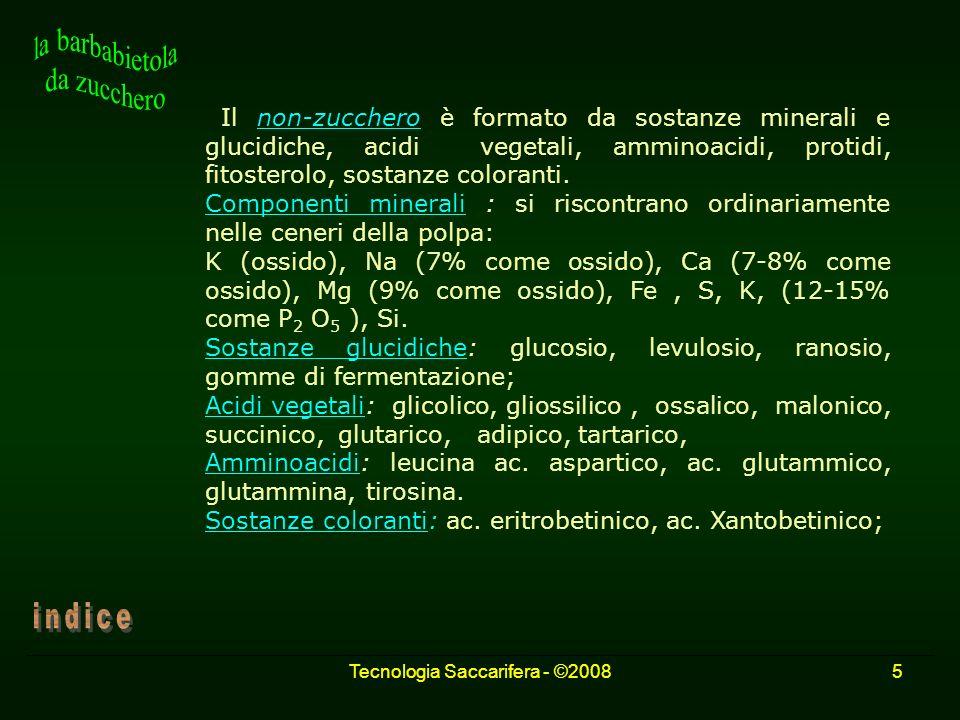 Tecnologia Saccarifera - ©20085 Il non-zucchero è formato da sostanze minerali e glucidiche, acidi vegetali, amminoacidi, protidi, fitosterolo, sostan