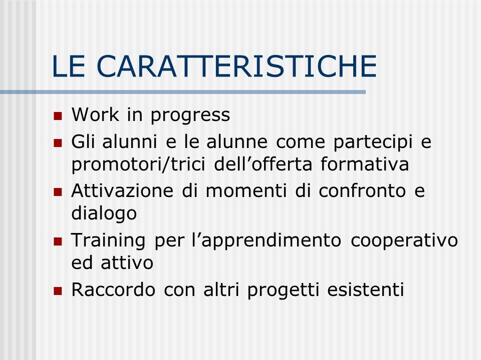 LE CARATTERISTICHE Work in progress Gli alunni e le alunne come partecipi e promotori/trici dellofferta formativa Attivazione di momenti di confronto