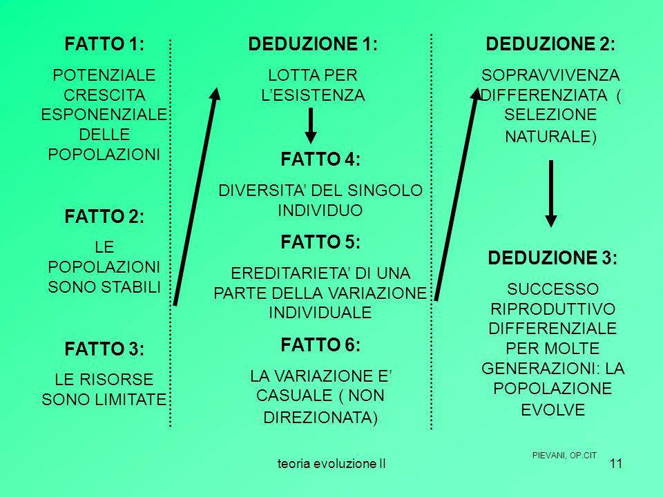 teoria evoluzione II11 FATTO 1: POTENZIALE CRESCITA ESPONENZIALE DELLE POPOLAZIONI FATTO 2: LE POPOLAZIONI SONO STABILI FATTO 3: LE RISORSE SONO LIMIT