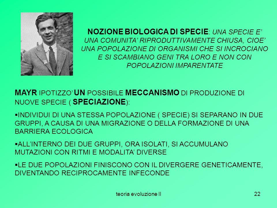 teoria evoluzione II22 NOZIONE BIOLOGICA DI SPECIE : UNA SPECIE E UNA COMUNITA RIPRODUTTIVAMENTE CHIUSA, CIOE UNA POPOLAZIONE DI ORGANISMI CHE SI INCR