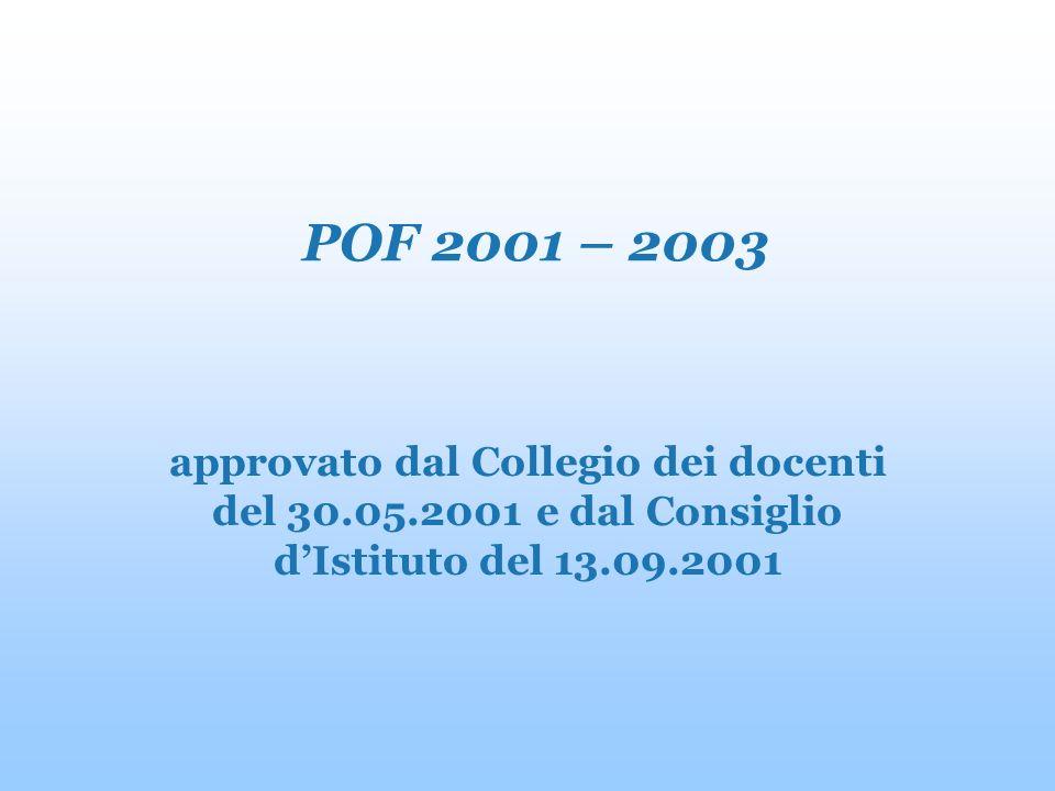 POF 2001 – 2003 approvato dal Collegio dei docenti del 30.05.2001 e dal Consiglio dIstituto del 13.09.2001