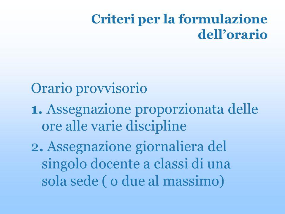 Criteri per la formulazione dellorario Orario provvisorio 1.