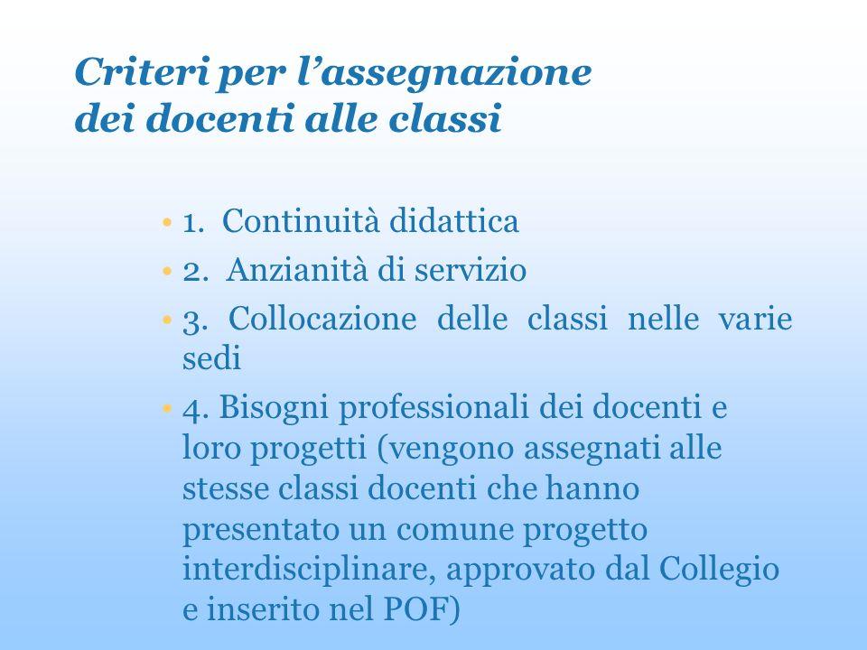 Criteri per lassegnazione dei docenti alle classi 1.