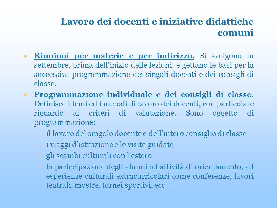 Lavoro dei docenti e iniziative didattiche comuni Riunioni per materie e per indirizzo.