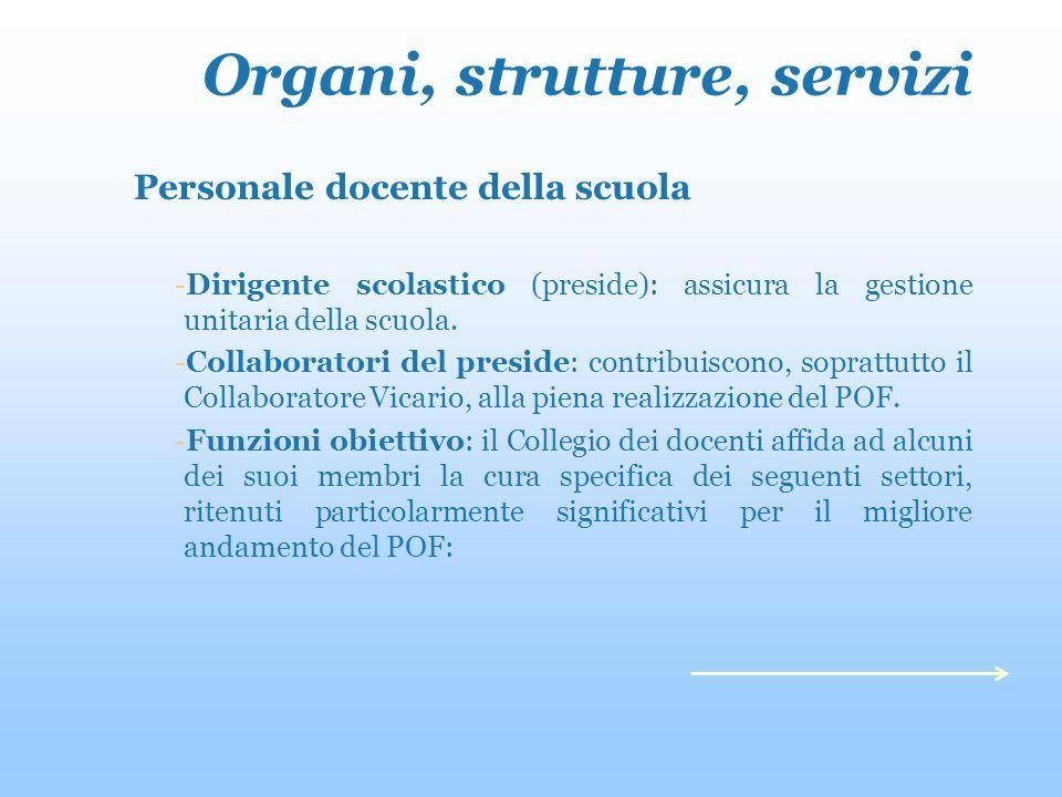 Organi, strutture, servizi Personale docente della scuola -Dirigente scolastico (preside): assicura la gestione unitaria della scuola.