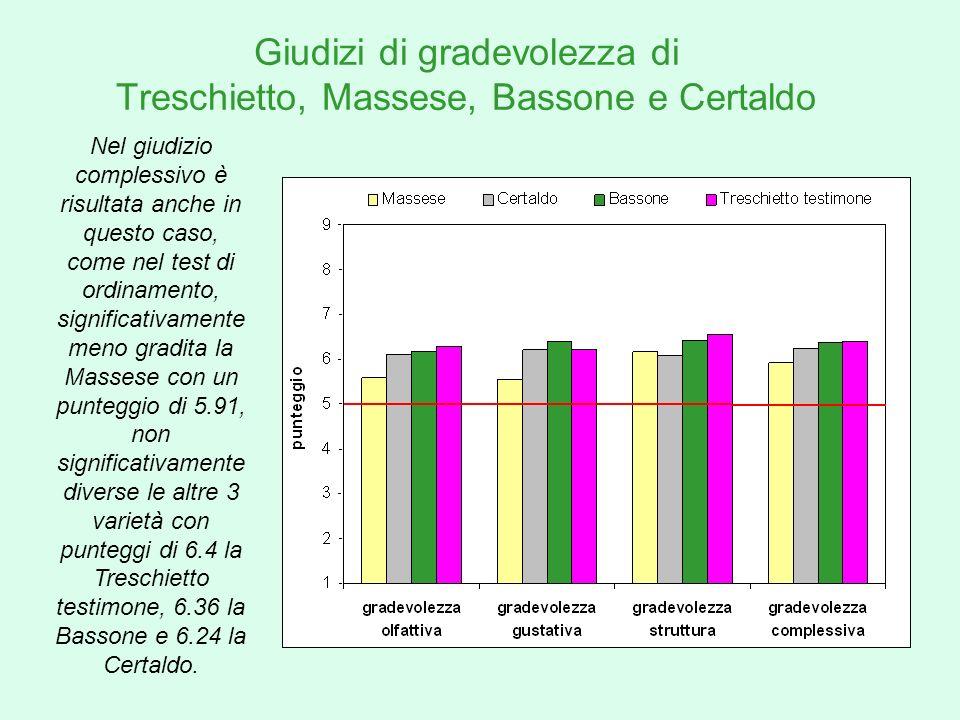 Giudizi di gradevolezza di Treschietto, Massese, Bassone e Certaldo Nel giudizio complessivo è risultata anche in questo caso, come nel test di ordina