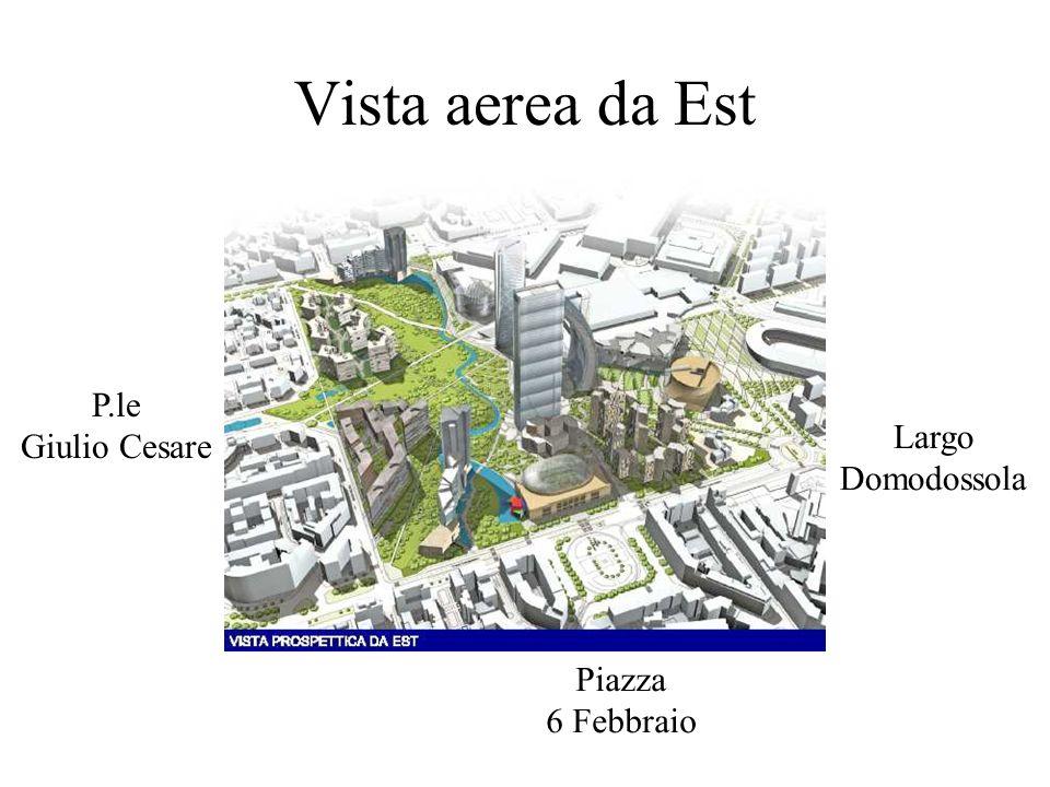 Vista aerea da Est Largo Domodossola Piazza 6 Febbraio P.le Giulio Cesare