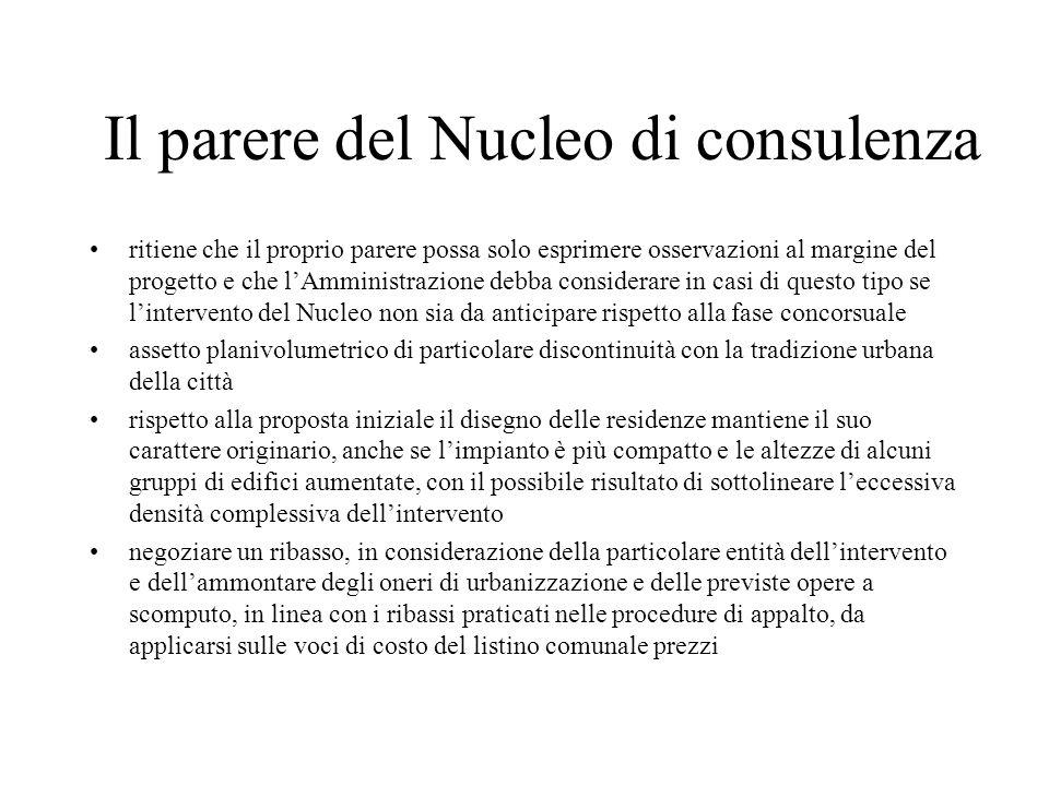 Il parere del Nucleo di consulenza ritiene che il proprio parere possa solo esprimere osservazioni al margine del progetto e che lAmministrazione debb