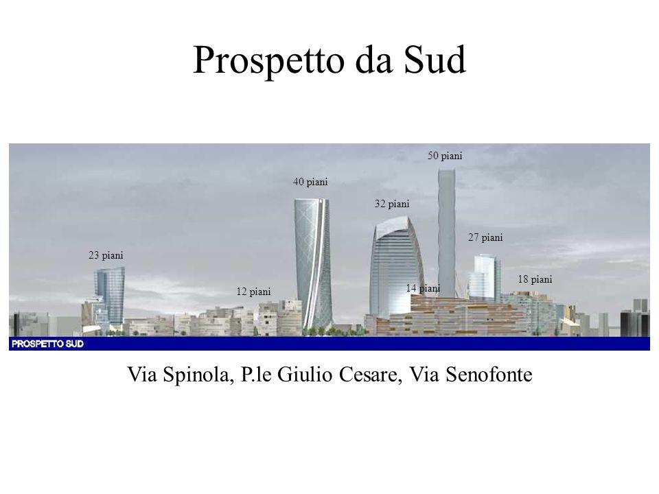 Prospetto da Sud Via Spinola, P.le Giulio Cesare, Via Senofonte 23 piani 40 piani 32 piani 50 piani 27 piani 12 piani 18 piani 14 piani