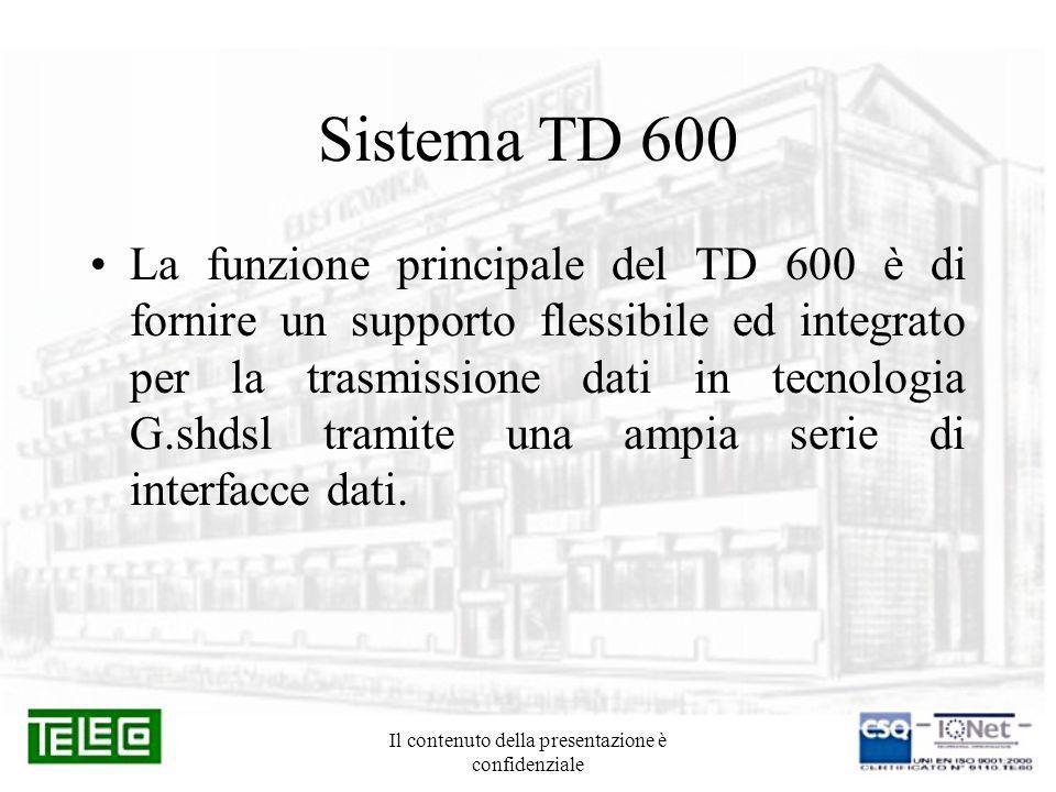 Il contenuto della presentazione è confidenziale Sistema TD 600 La funzione principale del TD 600 è di fornire un supporto flessibile ed integrato per