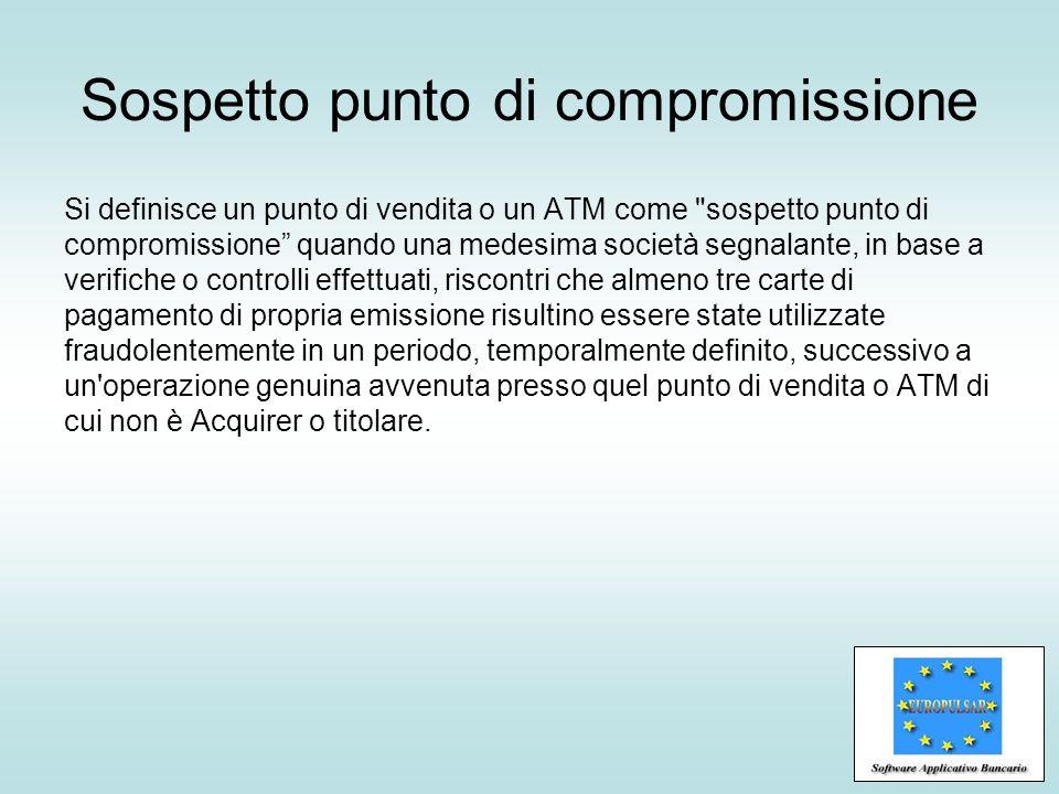 Sospetto punto di compromissione Si definisce un punto di vendita o un ATM come