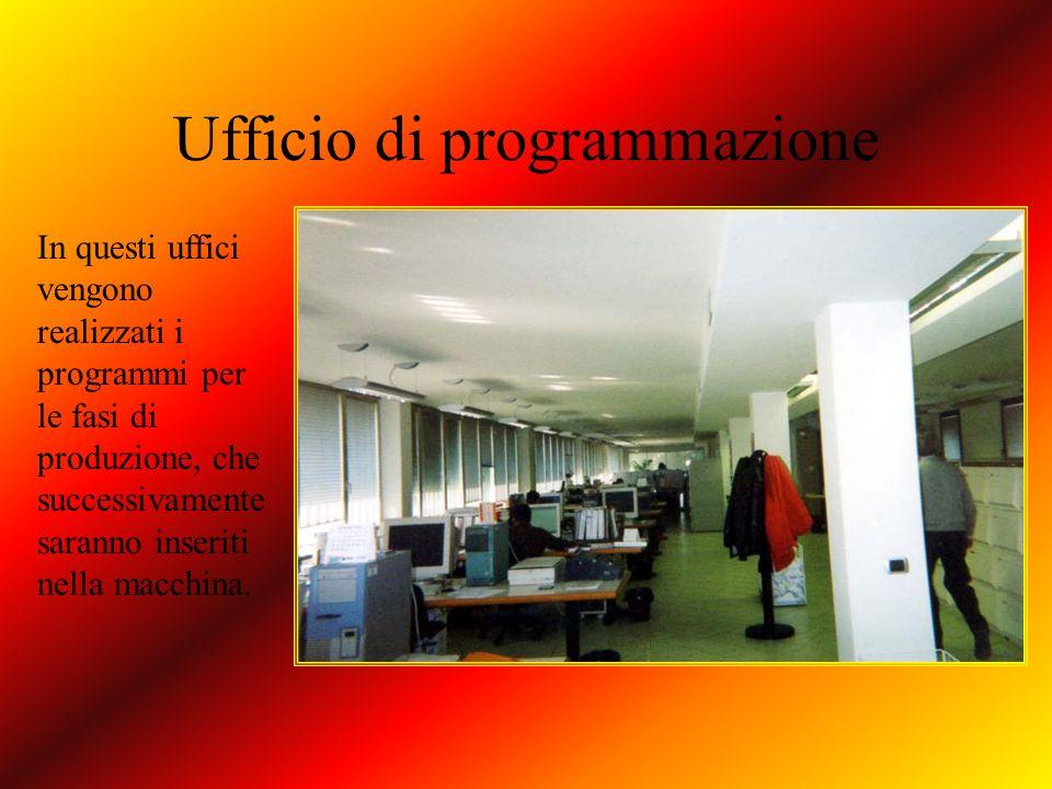Ufficio di programmazione In questi uffici vengono realizzati i programmi per le fasi di produzione, che successivamente saranno inseriti nella macchi