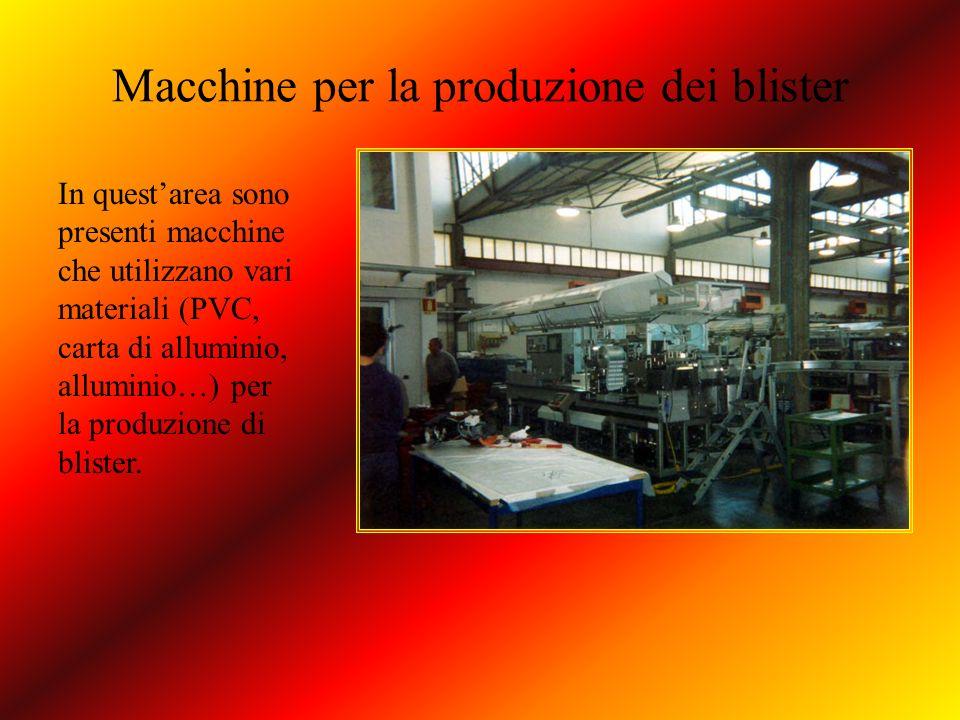Macchine per la produzione dei blister In questarea sono presenti macchine che utilizzano vari materiali (PVC, carta di alluminio, alluminio…) per la