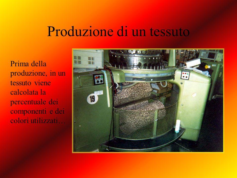 Produzione di un tessuto Prima della produzione, in un tessuto viene calcolata la percentuale dei componenti e dei colori utilizzati…