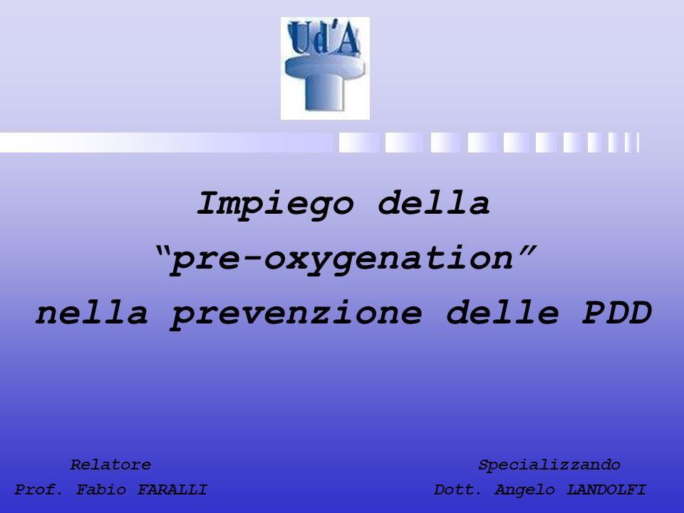 Relatore Specializzando Prof. Fabio FARALLI Dott. Angelo LANDOLFI Impiego della pre-oxygenation nella prevenzione delle PDD