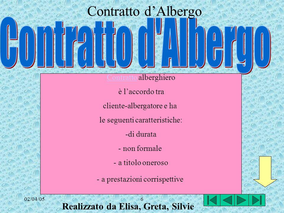 02/04/056 ContrattoContratto alberghiero è laccordo tra cliente-albergatore e ha le seguenti caratteristiche: -di durata - non formale - a titolo oneroso - a prestazioni corrispettive Contratto dAlbergo Realizzato da Elisa, Greta, Silvie