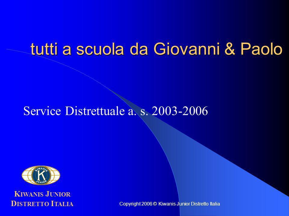 tutti a scuola da Giovanni & Paolo Service Distrettuale a. s. 2003-2006 K IWANIS J UNIOR D ISTRETTO I TALIA Copyright 2006 © Kiwanis Junior Distretto