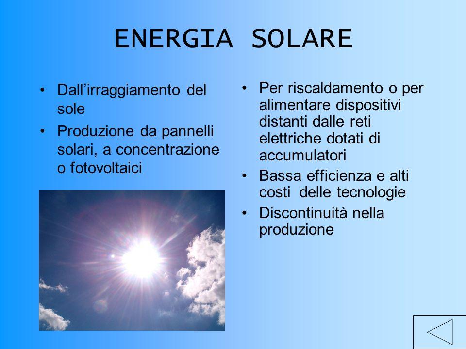 ENERGIA SOLARE Dallirraggiamento del sole Produzione da pannelli solari, a concentrazione o fotovoltaici Per riscaldamento o per alimentare dispositivi distanti dalle reti elettriche dotati di accumulatori Bassa efficienza e alti costi delle tecnologie Discontinuità nella produzione