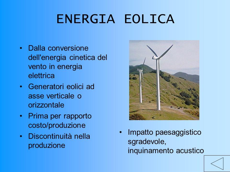 ENERGIA EOLICA Dalla conversione dell energia cinetica del vento in energia elettrica Generatori eolici ad asse verticale o orizzontale Prima per rapporto costo/produzione Discontinuità nella produzione Impatto paesaggistico sgradevole, inquinamento acustico