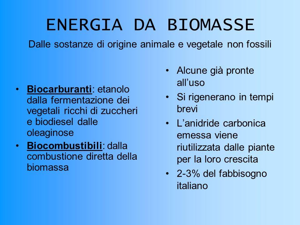 ENERGIA DA BIOMASSE Biocarburanti: etanolo dalla fermentazione dei vegetali ricchi di zuccheri e biodiesel dalle oleaginoseBiocarburanti Biocombustibili: dalla combustione diretta della biomassaBiocombustibili Alcune già pronte alluso Si rigenerano in tempi brevi Lanidride carbonica emessa viene riutilizzata dalle piante per la loro crescita 2-3% del fabbisogno italiano Dalle sostanze di origine animale e vegetale non fossili