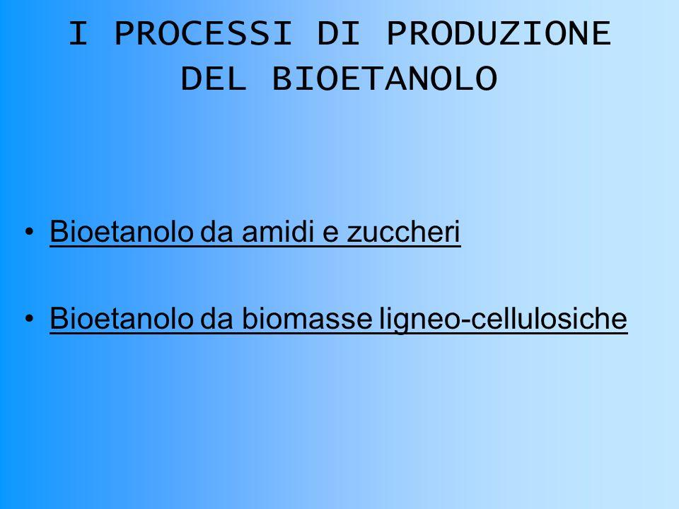 I PROCESSI DI PRODUZIONE DEL BIOETANOLO Bioetanolo da amidi e zuccheri Bioetanolo da biomasse ligneo-cellulosiche